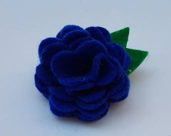 Felt flower brooch, felt flower pin, felt flower, felt flower jewellery, felt jewellery, felt brooch, felt pin, blue felt flower brooch