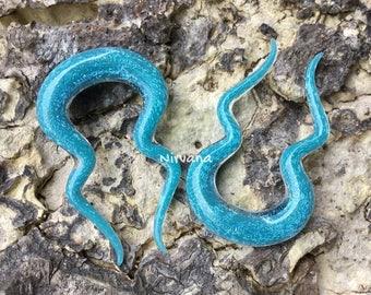 "1 Pair - Light Blue Opal Dichroic Glass Double Omega Spirals 10g 8g 6g 4g 2g 0g 00g 7/16"" 1/2"" 9/16"" 5/8""  3 mm 4 mm 5 mm 6 mm 8 mm  - 16 mm"
