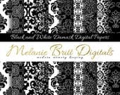 BLACK DAMASK digital paper pack, elegant damask, damask background, damask pattern, black and white damask, printable pdf, instant download