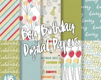 BIRTHDAY Digital Paper, Printable pdf, Boy Birthday, Party Hats, Hooray, Celebrate, Birthday Balloons, Boy Birthday Party, INSTANT DOWNLOAD