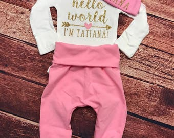 Hello World Newborn Outfit with Hat and Pants , Personalized Bodysuit, Baby Shower Gift, Take Home Outfit, Hello World
