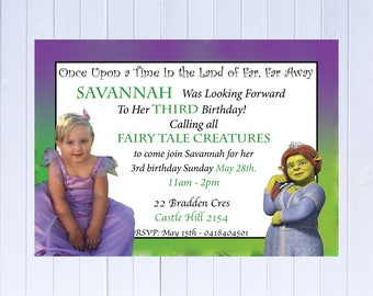"Digital file Shrek Princess Fiona Birthday Invitation-Printable JPEG File Emailed - Plus FREE ""Thank You Card"" for all invitations"