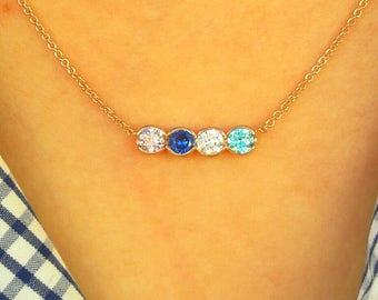 Birthstone Mothers Necklace-Birthstone Necklace-Mothers Necklace-Family Necklace-925K Silver Zirconia Handmade Channel Bithstone Necklace