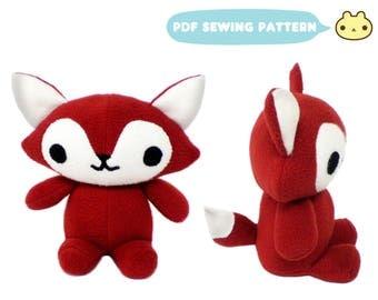 Fox Plush Pattern, Toy Animal Pattern, Fox Sewing Pattern, Foxy Pattern, Plush Fox Toy DIY, Fox Toy Sewing, Plush Fox Pattern, Stuffed Fox