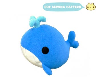 Whale Plush Sewing Pattern, Stuffed Whale Toy, Stuffed Animal Sewing Pattern, Stuffed Whale Plush Animal, DIY Whale, Whale Toy PDF Pattern