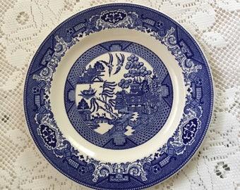 Blue Willow Dinner Plate, Willow Ware Dinner Plate, Royal China Dinner Plate, Blue Willow Plate, Willow Ware Plate, Blue White Wall Plate