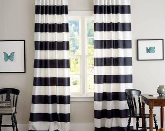 Black stripe curtains,Black Cabana curtains, bedroom curtains.upscale living room curtains