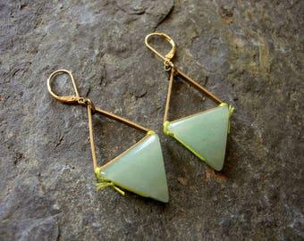 Bronze earrings green Aventurine triangles toned stone.