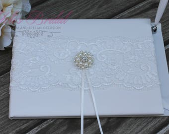 FAST SHIPPING!! Guest Book, Ivory Guest Book, Off White Guest Book, Vintage Guest Book, Wedding Guest Book, Shabby Chic Guest Book, Romantic