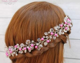 New!!! Silver Crystal and Pearl Hair Vine, Sweet 16 Hair Vine, Quinceañera Braid,  Bridal Hair Vine, Wedding Hair Comb, Bridal Headband