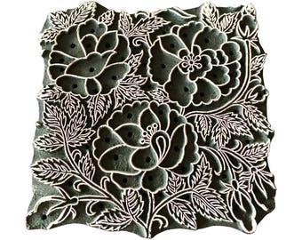 Square Stamp Flower Bunch Stamp Block Print Stamp Textile Stamp Clay Stamp Pottery Stamp