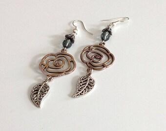 Earrings, long, silver, Czech glass