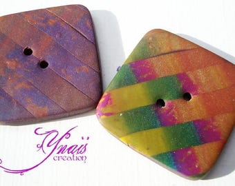 set of 2 polymer clay purple and multicolored buttons 3cm