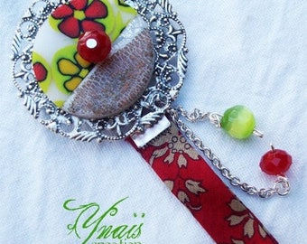 PIN print in red polymer clay and .5cm
