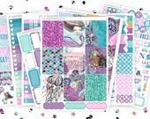Mermaid Kisses Full Kit, Erin Condren Planner Stickers, Happy Planner Stickers, ECLP, Mermaid Kit