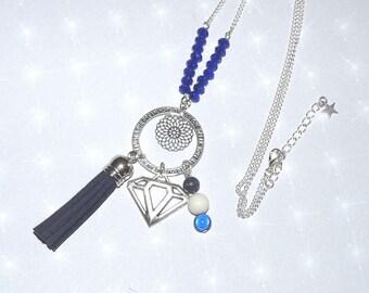 Necklace long blue/silver tassel, diamond, pearls