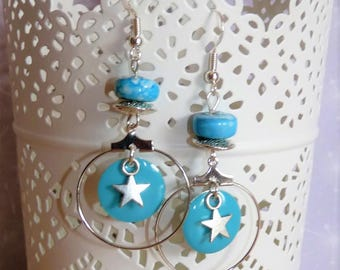 Earrings ' shape 925 Silver earrings hoop earrings turquoise blue enamel star/sequins