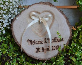 Ring pillow wood rings tree wedding heart