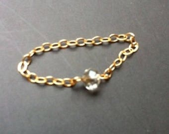 Ring chain gold-filled tiny swarovski crystal