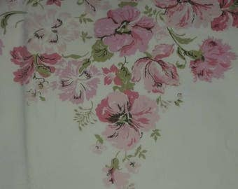 Amazing vintage 70's flat percale sheet PINK Floral 100% cotton