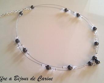Light weight necklace double strand Swarovski Crystal, wedding