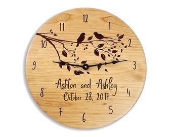 Wedding gift, gift for couples, anniversary gift, wedding clock, anniversary clock, personalized clock, custom clock, cherry clock, engraved