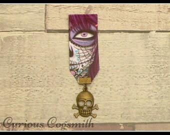 Purple Medal, Sugar Skull Brooch, Sugar Skull Pin, Steampunk Medal, Skull Jewellery, Steampunk Jewellery, Goth Pin, Day of the Dead