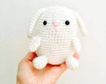 50% OFF Crochet White Amigurumi Bunny | Crochet Easter Bunny Plushie