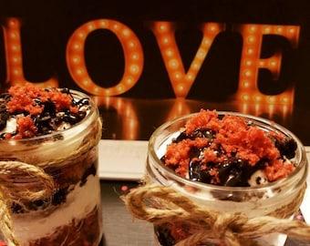 Red Velvet Oreo Cheesecake Trifles in a jar