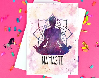 Yoga Card - Namaste - Friendship - Blank Inside - Free UK Postage!