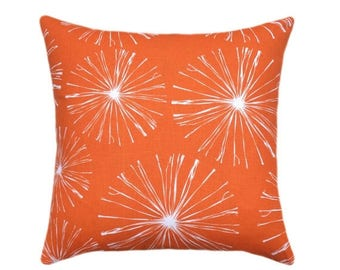 SALE Orange Starburst Pillow Cover // Premier Prints Sparks Monarch Pillow // Orange Pillow Covers // Orange and White Pillow // Zipper Clos