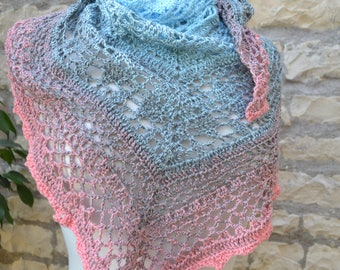 Blue and pink hand crocheted short shawl