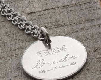SALE - Team Bride Personalized Engraved Necklace