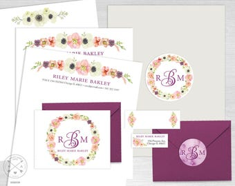sorority recruitment packet maxi pack personal branding kit resume letterhead floral pastel - Sorority Resume