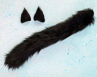 Black Cat Costume - Black Cat Ears and Tail / Black Cat Halloween/ Black Kitten Costume/ Black Ears and Tail