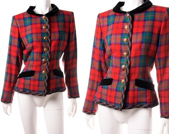 Yves Saint Laurent Rive Gauche 80s Vintage Tartan Plaid and Velvet Bow Jacket