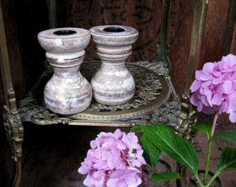 Wood Candlesticks, Vintage Candlesticks, Candle Holders, Two Candlesticks, Wooden Candlesticks, Rustic Decor, Shabby Decor, French Country