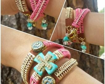 LC Wrap cross bracelet pink/turquoise