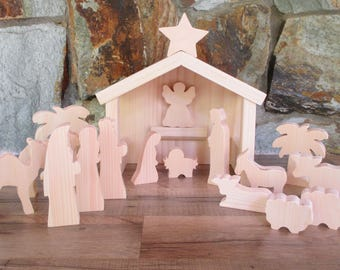 Wooden nativity scene - Christmas decor - Wooden nativity set - Christmas nativity - Nativity decoration - Christmas gift