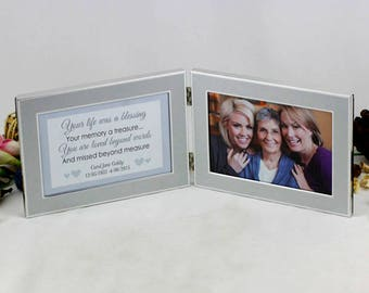 Memorial Double Silver Frame - Personalised