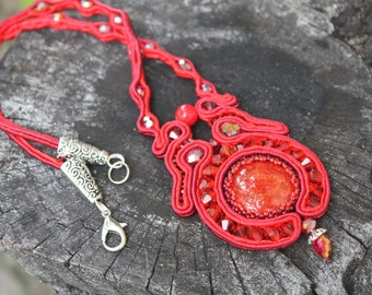 Vampire red red necklace pendant red birthday gift gift for girlfriend Halloween necklace gift for women red fashion soutache necklace