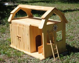 Barn toy-wooden shed-Garage-Wooden farm-Wood animals farm-waldorf toy