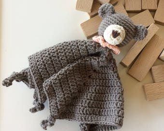 Eco friendly organic cotton crochet cuddle security blanket