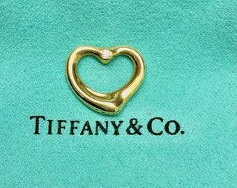 Tiffany & Co Elsa Peretti 18K Gold Open Heart Pendant with Diamonds, Pouch, for Necklace
