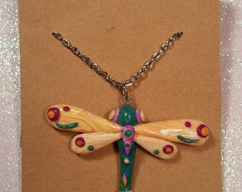 Dragonfly pendant necklace, handmade polymer clay dragonfly