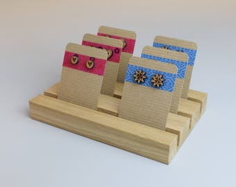 Small Jewellery Display Stand, Craft Show Display, Wooden Earring Card Holder, Earring Display, Jewellery Organisation, Shop Display Stand