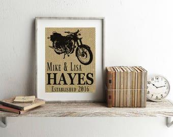 Motorcycle Print - Motorcycle Gifts - Burlap Print - Motorcycle Wedding - Harley Davidson Gift - Motorcycle Decor - Motorcycle Gift - Print