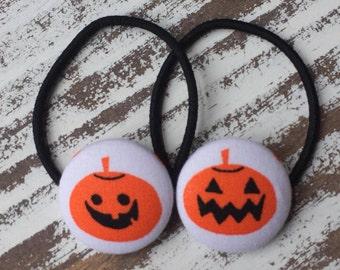 Jack OLantern Hair Tie - Halloween Elastic – Pumpkin Hair Clip - Halloween Ponytail Holder - Gift for Girl - Unique Hair Accessory – Under 5
