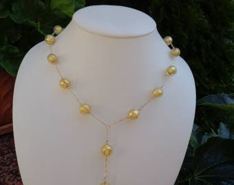 Gold chain, 585 goldfilled with Murano glass, gold leaf