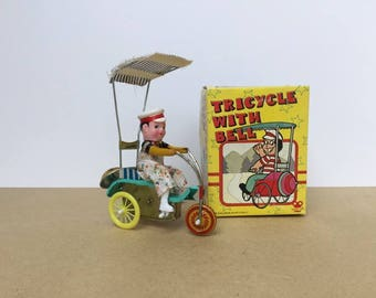 Tin Wind Up Toy - Boy on Tricycle - Works!!